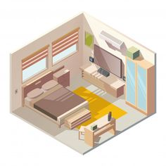 Comfortable bedroom interior isometric v. Isometric Art, Isometric Design, Casa Viking, Bedroom Drawing, Drawing Rooms, House Template, House Sketch, Sims House, House Layouts