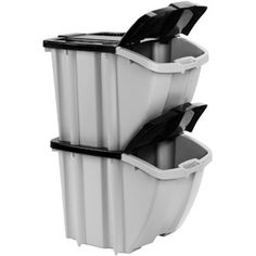 Stackable plastic recycle bins from Walmart. Great recycling bins. I bought the black ones sold in store for about eight dollars. They stack well three-high, lids snap closed and stay open without help, large, and you can easily squeeze a gallon milk jug through the lid.