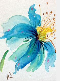 Simple watercolor flowers, watercolor and ink, watercolor flower painting, wate Watercolor Pictures, Watercolor And Ink, Simple Watercolor Flowers, Watercolor Paintings Nature, Watercolor Pencils, Watercolor Projects, Flower Art, Art Flowers, Blue Flowers