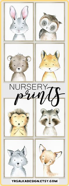 Woodland creatures Forest friends Gender neutral Art nursery decor Animal Fox Bunny Owl Hedgehog Racoon Bear Wolf Deer Art Print set of 8 Look at other nursery arts by #yrsalka #instantdownload #Printable #etsyseller #nurseryart #woodland