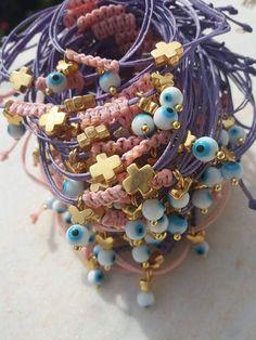 Baptism Favors 30pcs, Baptism Favors Girl Boy, Cross Favor bracelets, First Communion Gifts, Greek Baptism Favors, First Communion Favors #bracelet #macrame #pink #blue #gold #jewelry #baptism #handmade