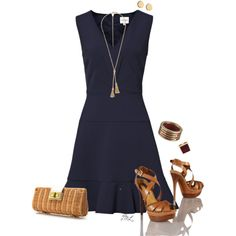 A fashion look from March 2013 featuring navy blue dress, platform sandals and summer handbags. Browse and shop related looks.