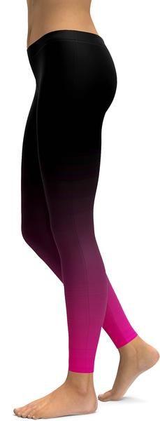 NEW Ladies Black Pink Ombre Leggings by Fableggings Super Soft!