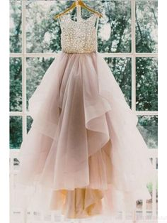 Applique Bodice Layers Tulle Open Back Ball Gown Wedding Dresses #SIMIBridal #promdresses