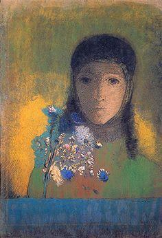 Odilon Redon, Woman with wildflowers
