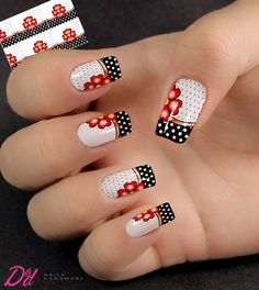 Nail Art Decoration With Rhinestones And Glitter Red Nail Designs, Beautiful Nail Designs, Nail Art Hacks, Gel Nail Art, Fancy Nails, Cute Nails, Golden Nails, Polka Dot Nails, Disney Nails