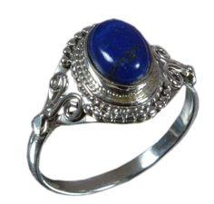 925 Solid Sterling Silver Ring Natural Lapis Lazuli Gemstone US Size 7 JSR-1586 #Handmade #Ring