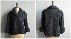 Vintage Black Wool Jacket / 60's Fur Coat / Curly Lamb's Wool / Women's Size 8, $138