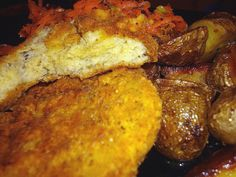 """Today I offer up my latest recipe for chicken-style seitan cutlets. I made half this recipe into vegan fried """"chicken"""", which is pictured above. The rest I have frozen. I also froze the broth. I intend to make a ch'eitan noodle soup at some point. They would also be good chopped and added to…"""