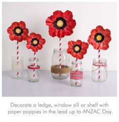 Printable poppies for ANZAC Day but would make a great Remembrance Day activity here or lovely table decorations.