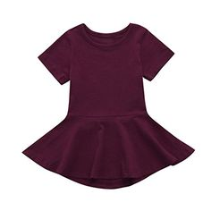 2f189a0ed Hatoys Candy Color Sundress,Toddler Kids Baby Girl Short Sleeve Solid Princess  Tutu Casual Dress