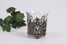 Luxury tea light holders in silver and crystals 3 Tea Light Holder, Candelabra, Tea Lights, Shot Glass, Candle Holders, Candles, Crystals, Lighting, Luxury