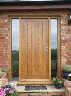 Wooden Doors: solid oak front door with side lights,oak door,bes. Exterior Front Doors, Timber Front Door, House Front, Contemporary Front Doors, Front Doors With Windows, Front Door Steps, Oak Front Door, Wooden Door Design, Exterior Doors