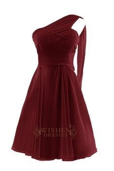 Elegant one-shoulder, chiffon a-line dress . Chic pleated detail feature a slightly gathered skirt. Fabrics: Chiffon. Photographed in burgundy. Neckline:1 shoulder Length:Knee length Details:Ruched Fa