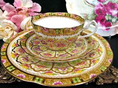 ROYAL ALBERT TEA CUP AND SAUCER TRIO COURT PATTERN TEACUP GOLD GILT PAINTED