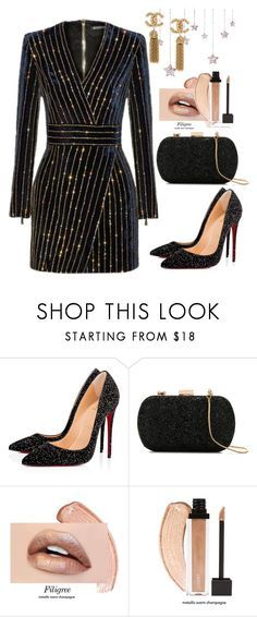 """""""Untitled #654"""" by dreamer3108 on Polyvore featuring Balmain, Christian Louboutin and Le Lis Blanc"""