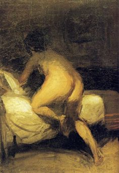 dappledwithshadow:  Nude Crawling in to Bed, Edward Hopper c. 1903