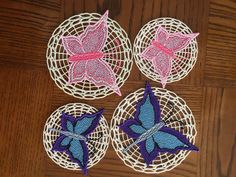 FSL Butterfly - FSL Coaster - Free standing lace - butterfly embroidery design - 4 sizes by LLHembroidery on Etsy