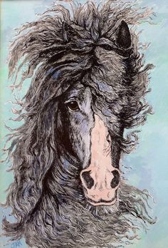 Galloping Gypsy Vanner Horse Original Pen Ink by JaneysArtStudio, £40.00