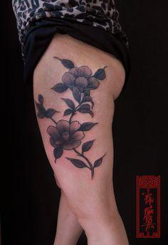 Camellias Tattoo Art by Paulo Barbosa - Ariuken Art on Facebook