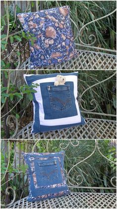Make a pillow out of your old jeans.