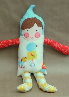 Custom Boy Doll Robots and Puppies Personalized Hand Embroidered Name Felt Softie Plush Cloth Fabric Doll tadacreations