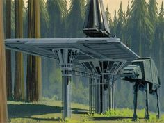 ROTJ: Ralph McQuarrie color composition of an AT-AT arriving at the Endor landing platform. (Widescreen image unavailable at this time.)