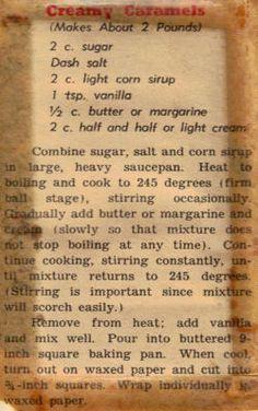 Home made Creamy Caramels – Vintage Recipe Clipping. Retro Recipes, Old Recipes, Vintage Recipes, Sweet Recipes, Cooking Recipes, Blender Recipes, Cookbook Recipes, Vegetarian Recipes, Dolce Vita