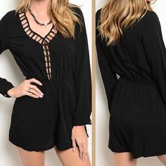 Cut out romper Do not buy this listing ⚠️ comment with your size, I'll make one for you!                                            NWT black loose fitting romper, button long sleeves, key hole back, cut out detail front with charcoal tone metal accents, pockets at both sides. Polyester and rayon. Fits true to size. No trades. No offers. Price is firm. Pants Jumpsuits & Rompers