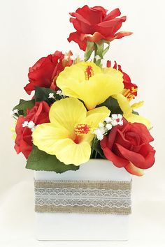 Flower bouquet or red roses yellow lilies and blue delphinium c red roses yellow hibiscus artificial flowers silk floral arrangements artificial flower arrangements mightylinksfo
