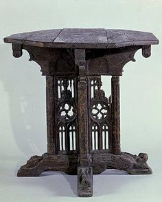 Table pliante (Folding Table)  French, 1480 - 1500 (dated by style of tracery panel carvings)