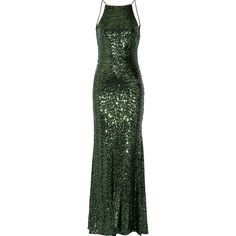 Badgley Mischka - Draped Sequined Tulle Gown (1.045 BRL) ❤ liked on Polyvore featuring dresses, gowns, emerald, green evening gown, green ball gown, sequined dresses, green sequin gown and drape back dress