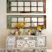 Refinished antique buffet & updated family room pics