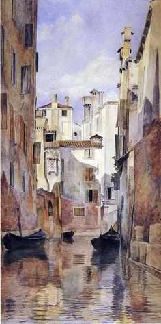 The Athenaeum - Venetian Canal Scene (Henry Roderick Newman - )