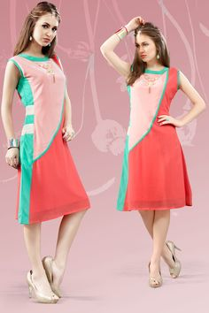 Pink and peach stylish evening wear georgette kurtis and tunics 6938