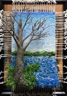 Dimensional Weaving - Martina Celerin fiber art: Art and Merry Making Collide in the Holidays Weaving Loom Diy, Weaving Art, Weaving Patterns, Tapestry Weaving, Hand Weaving, Art Fibres Textiles, Textile Fiber Art, Diy Arts And Crafts, Hobbies And Crafts