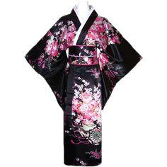 Women's Kimono Costume Adult Japanese Geisha Yukata Sweet Floral Patten Gown Blossom Satin Bathrobe Sleepwear with OBI Belt Kimono Geisha, Kimono Dress, Traditional Japanese Kimono, Traditional Dresses, Japanese Outfits, Japanese Fashion, Japanese Geisha, Anime Outfits, Cool Outfits