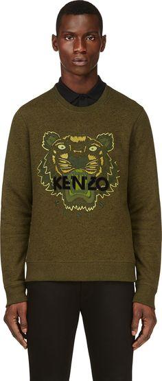 35ade3b9a619 Kenzo - Green Embroidered Tiger Sweatshirt