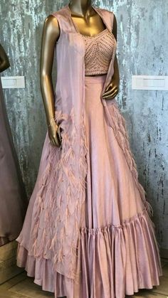 Beautiful Linen Satin Lehenga with jacket. Indian Lehenga, Indian Gowns, Indian Attire, Pakistani Dresses, Indian Wear, Indian Wedding Outfits, Indian Outfits, Indian Designer Outfits, Designer Dresses