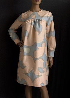 Marimekko cotton print dress, c.1966. The Keidas (oasis) print was designed by Annika Rimala in 1966.