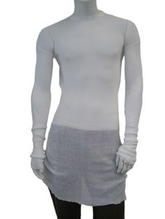 Long roundnecked longsleeved ribbed pullover with openworked parts, rawcutted at the bottom, in ecofriendly cotton yarn. $207.00