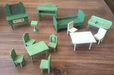 Vintage Strombecker Miniature Dollhouse Furniture Painted Wood Table Chair Sink+ #Strombecker