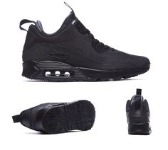 huge discount 3e176 750c0 Nike Air Max 90 Mid Winter Trainers Black S92266 Air Max Winter, All Black  Sneakers