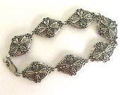 Vintage Sterling Silver 925 Four Leaf Clover Flower - Cast and Cut Silver Bracelet - Sparkles like Rhinestones