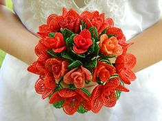 Etsy Shades of Red French Beaded Flower Bridal Bouquet by BeadedFleur, $200.00