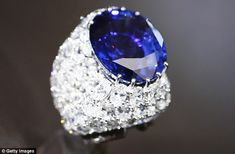 Dazzling: The jewelry of Parisian jeweler Alexandre Reza has gone on public display for the first time at Sotheby's auction house in New York - here is a ring featuring a giant sapphire and 101 diamonds