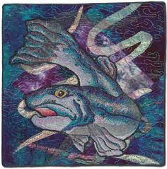 """""""Strange Waters"""" quilt with glitter thread, seen at Superior Threads blog"""