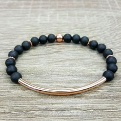 Matte Black Agate & Rose Gold bar bracelet
