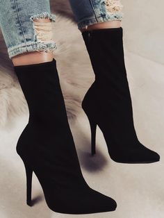 2812d9ba1d6 Solid Side Zipper Pointed Toe Heeled Boots Black High Heels