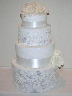 Formal Lace Wedding Card Reception Box - 4 tier
